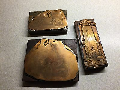 COPPER PRINTING WOODEN BLOCK PLATE - miners lamp and 2 vintage cars