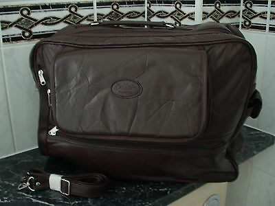 MENS LARGE BROWN LEATHER HOLDALL LUGGAGE BAG TRAVEL CASE NEW  (a69)