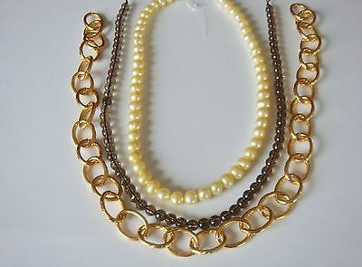 Pale gold Cultured pearls ,Smokey Quartz & gold chain. 3 strand bundle