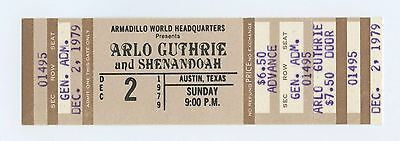 Arlo Guthrie Ticket 1979 Dec 2 Armadillo Word Headquarters Austin TX Unused