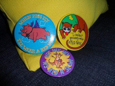 3 Tin  collectable Red Nose Day Badge.