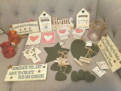 wholesale job lot shabby chic wooden signs sayings blocks REDUCED FROM £95
