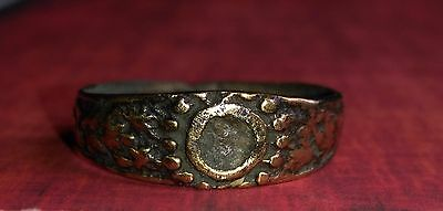 Medieval period, Bronze Ring with a ornaments.17th century