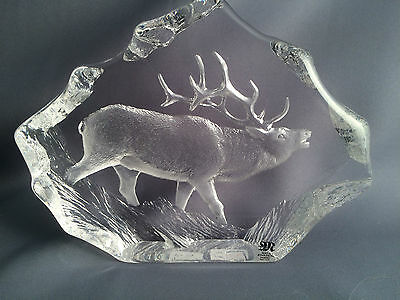 Mats Jonasson Stag Crystal Collection Sculpture Paperweight.
