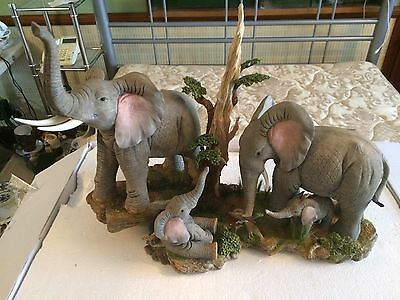 Rare Large Tuskers Elephants Family Feeding Time Limited Edition of 500 Only.
