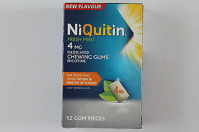 Niquitin Fresh Mint 4mg Medicated Chewing Gum 12 Gum Pieces exp 09/2016