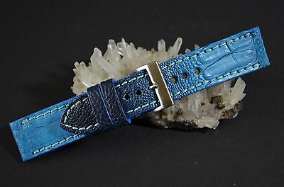 Uhrenarmband 22 20 18 Mm Echt Straussenbein Light Blue Ma Strap Handmade Band