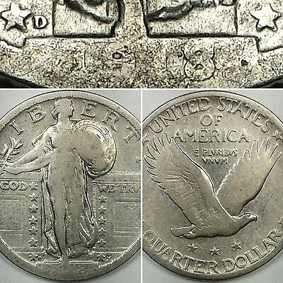 1918-D Standing Liberty Quarter - Key Date 90% Silver Us Coin