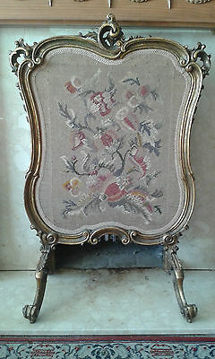 Antique Giltwood Fire Screen with Tapestry Needlework Panel 19th Century