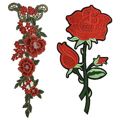 GD Fashion Large Red Rose Flower Sew On Embroidered Applique Patch DIY Clothing