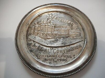 Vintage 1900 Republican National Convention Silverplate Tip Tray Philadelphia