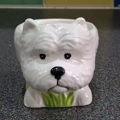 Lovely Ceramic Westie Dog Ornament / Large Egg Cup / Pot