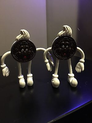 Oreo Cookie Bendable Toy Chocolate PVC Collectible Figure Nabisco 1988 Lot Of 2