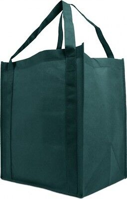 Reusable Reinforced Handle Grocery Tote Bag Large 10 Pack - Hunter Green