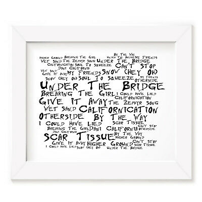 `Noir Paranoiac` RED HOT CHILI PEPPERS Art Print Typography Album Lyrics Poster