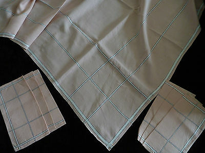 """Linen Tablecloth 51"""" x 66"""" with 6 Matching Napkins in Pink, Black & White Check"""