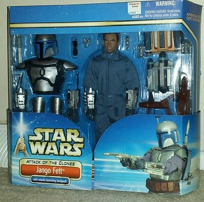 """Star Wars Attack of the Clones 12"""" Jango Fett Action Figure Missile Launching"""