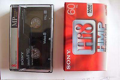 2 Cassettes Video Hi8 Sony Hmp 60 Metal 1 Neuve Sous Blister - 1 Occasion