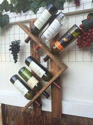 Wooden wall mounted wine rack 6 bottles. Home Decor , Kitchen, Christmas