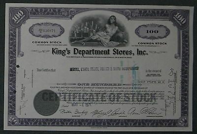 King's Department Stores, Inc. 1971 100 Shares .