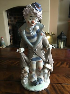 Lladro Porcelain Figurine, 'Surprise' Clown With Puppies, Perfect Condition