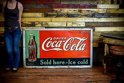 VINTAGE 1930s COCA COLA SODA Coke Tin SIGN Original Gas Oil Station Ad RARE Size