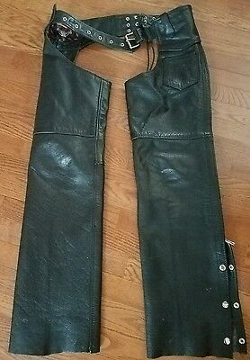 Womens Black Interstate Leather Motorcycle Chaps Size Small Adjustable Waist