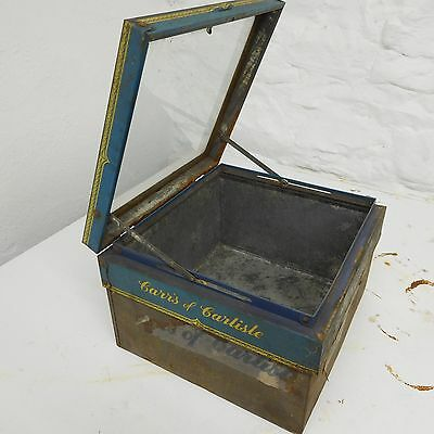 Carrs Glass Topped Biscuit Tin.  Advertising Tins.  Kitchenalia.