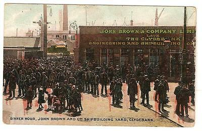 PPC 1909 John Brown & Co's Shipbuilding Yard Clydebank. Dinner Hour busy scene