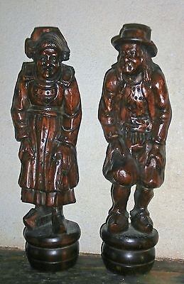 ANTIQUE PRIMITIVE FOLK ART French  Brittany  wooden carved FIGURES