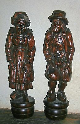 LOWER PRICE /ANTIQUE PRIMITIVE FOLK ART french  brittany  wooden carved FIGURES