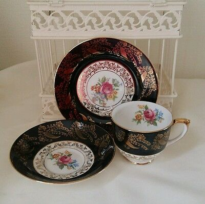 Vintage Aynsley Cavour Ware China Cabinet  Cup Saucer Plate Black Gold Rose