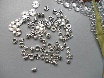 NEW 100 DESIGNS TIBETAN SPACER BEADS KIT, SILVER or BRONZE, JEWELRY MAKING & BOX