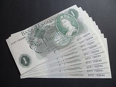 """10 Consecutive """" Mis Cut Error """" Bank Of England  £1 Pound Notes  - J.b.page"""