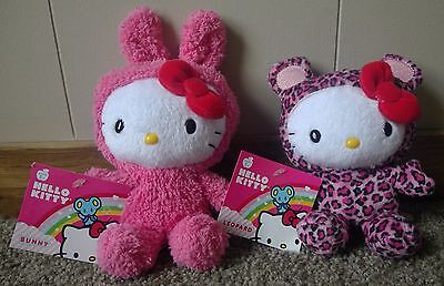 Sanrio Hello Kitty Pink Bunny and Leopard Plush Lot of 2
