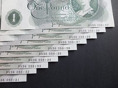 """10 Consecutive """" Error """" Bank Of England  £1 Pound Notes  - J.b.page"""
