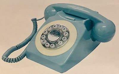 GPO Style Vintage Retro Phone 746 Telephone Push Button Dial Pale Blue & Boxed