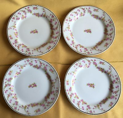 "4 Limoges Elite Works Bridal Wreath/ Pink Floral Garlands 6 1/4"" Plates (441)"
