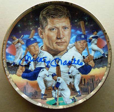 """Mickey Mantle Autographed Ceramic Sports Impressions""""4 plate"""