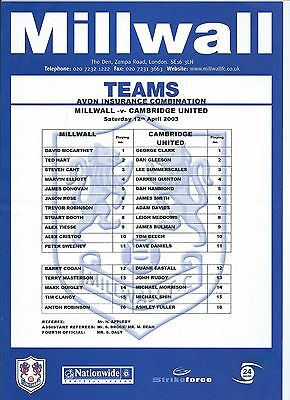 Millwall Reserve/youth Home/away Progs/single Sheets Various Seasons