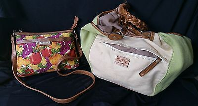 Relic Handbags Multicolor Fruit Pattern Shoulder Bag Green Tan Hobo Lot of 2