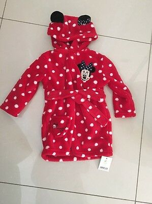 Disney Baby Girls Mini Mouse Housecoat 6-9 Months Brand New With Tags On