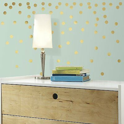 RoomMates RMK3073SCS Gold Confetti Dots Peel and Stick Wall Decals