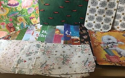 Bundle of Vintage Christmas & Birthday Wrapping Paper Sheets Retro Kitsch