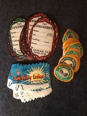 Huge Lot 57 Antique Vintage Hotel Luggage Labels Travel Stickers Sun Valley