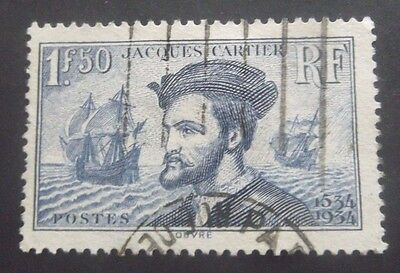 France-1934Jacques Cartier 1.5F Blue-Used