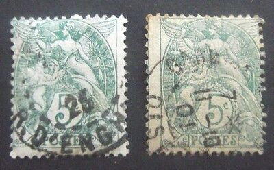 France-1900-Two 5c issues-Used