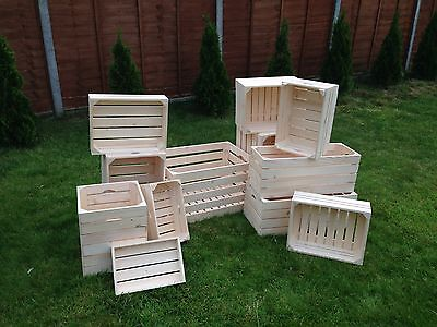 Natural Strong Untreated Plain Wood Crate Storage Craft Box Vegetable Container