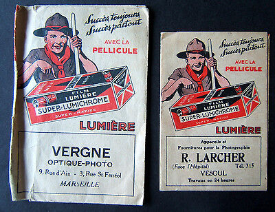 France apr 1934 two scout envelopes  covers for photo's lumiere kodac