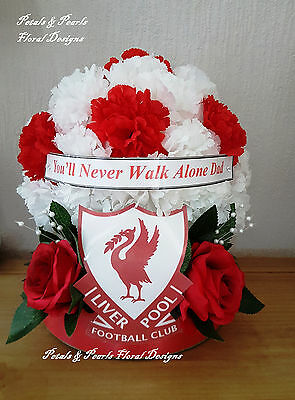 Artificial Silk Flower Liverpool FC Football Funeral Wreath Red White Memorial